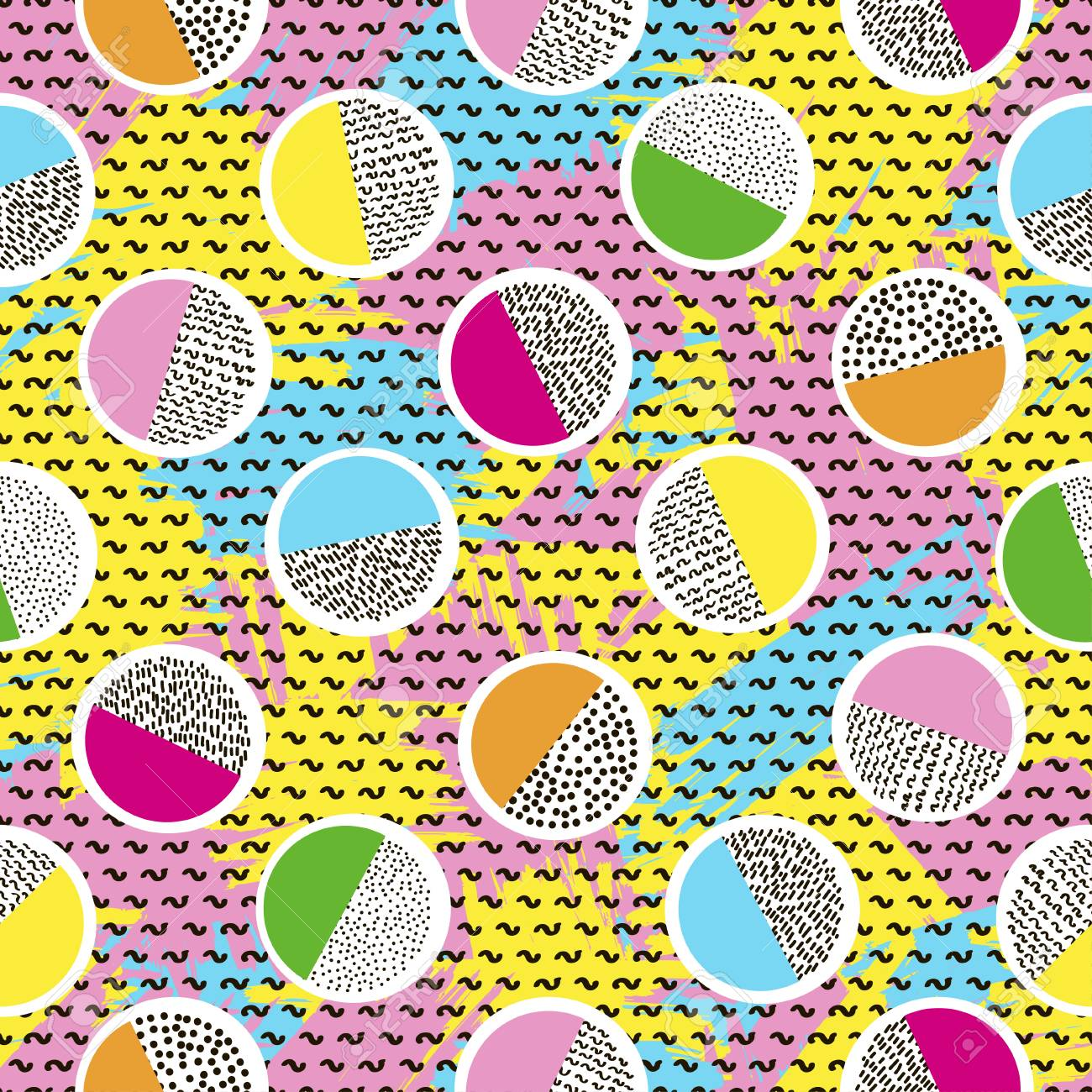 Colorful seamless pattern from circles on the bright brush strokes background and black dots. 80's - 90's years design style. Trendy. Vector illustration - 97575900