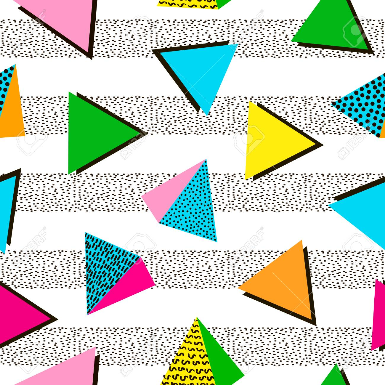 Colorful geometric seamless pattern. Bright background. 80's - 90's years design style. Trendy. Vector illustration - 97575901