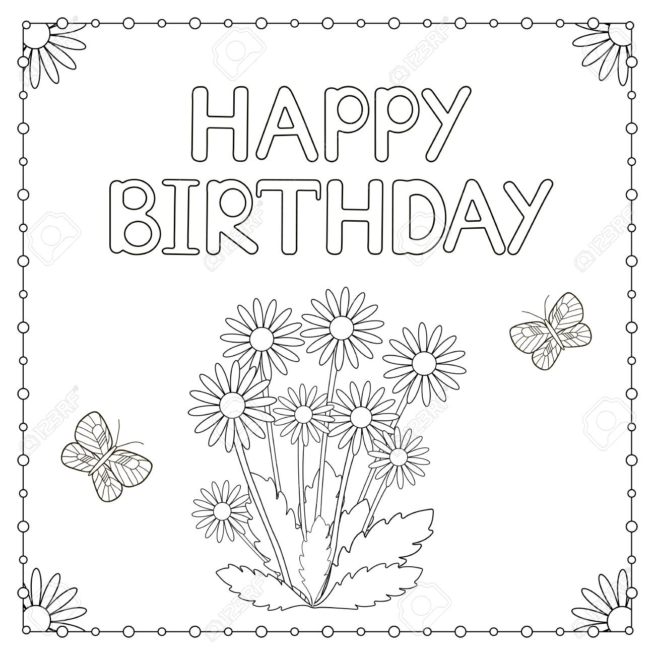 - Happy Birthday Card With Flowers And Butterflies. Coloring Page