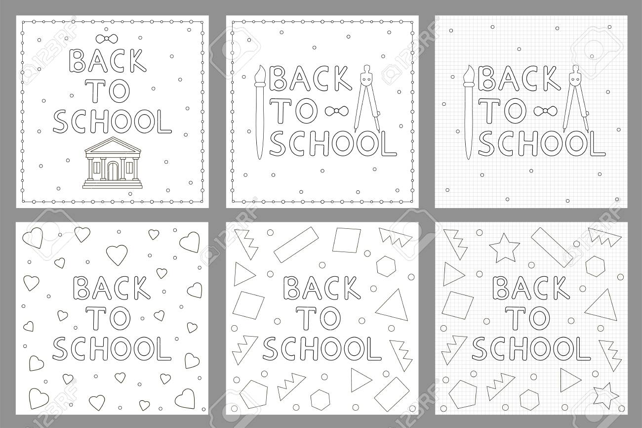 Back To School Backgrounds Set. Coloring Pages. Vector Illustration ...