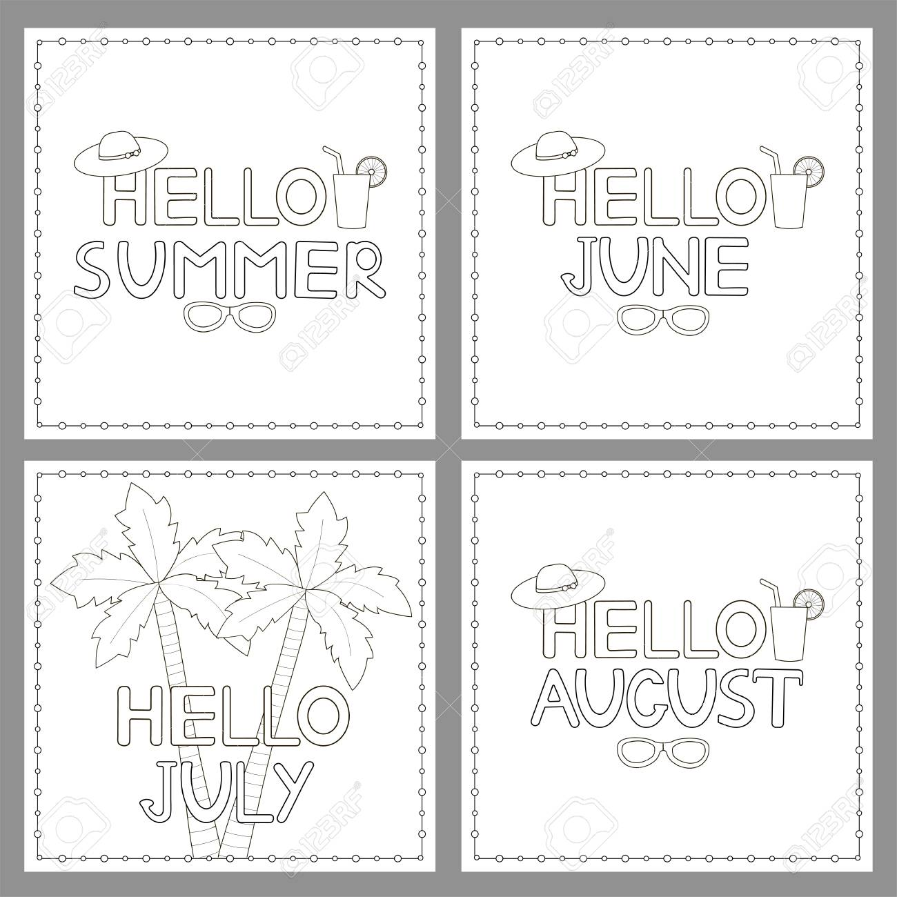 Coloring Pages Set With Phrases Hello Summer Hello June Hello