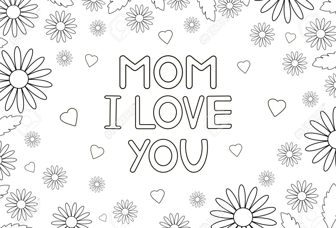 Mother's Day Flowers Coloring Page coloring page & book for kids. | 883x1300