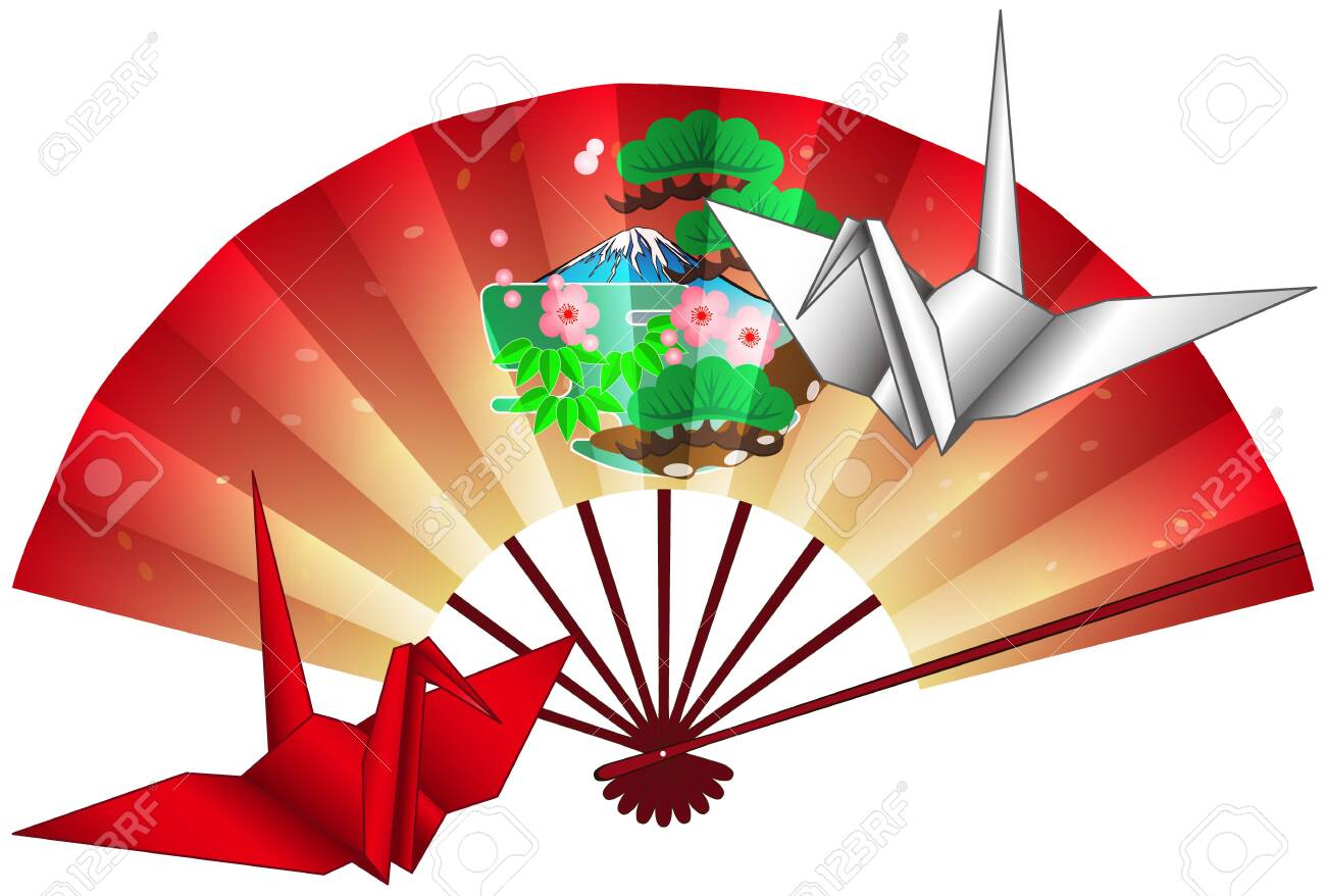 Folding Fan And Crane Origami Postcard 05 Royalty Free Cliparts ...   878x1300