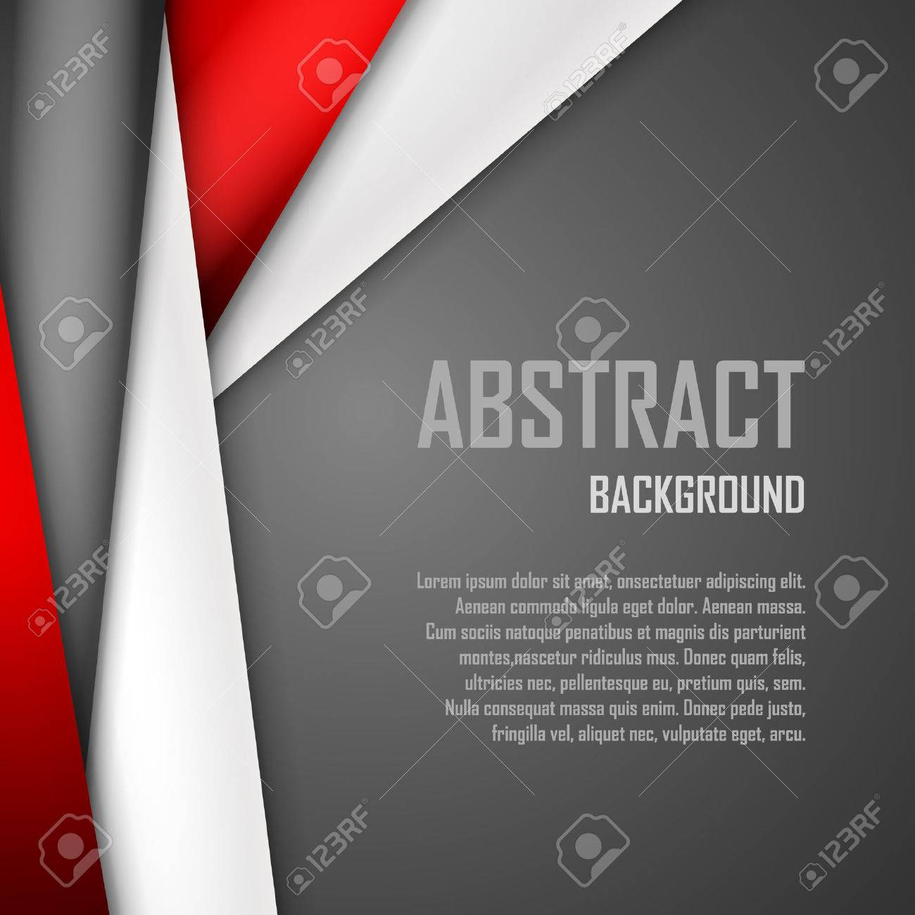 Abstract background of red, white and black origami paper. - 49451605