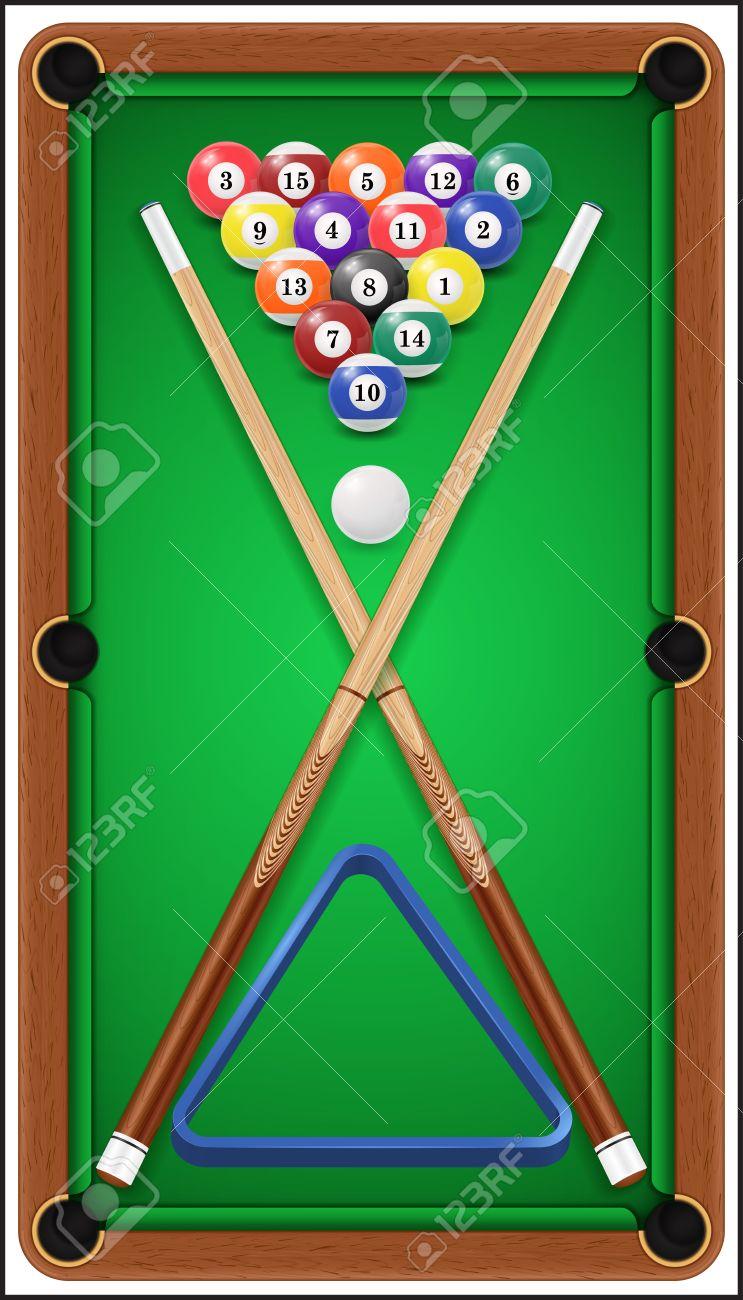Billiard Set. Billard Balls, Cue And Billiard Triangle In A Pool Table.  Stock