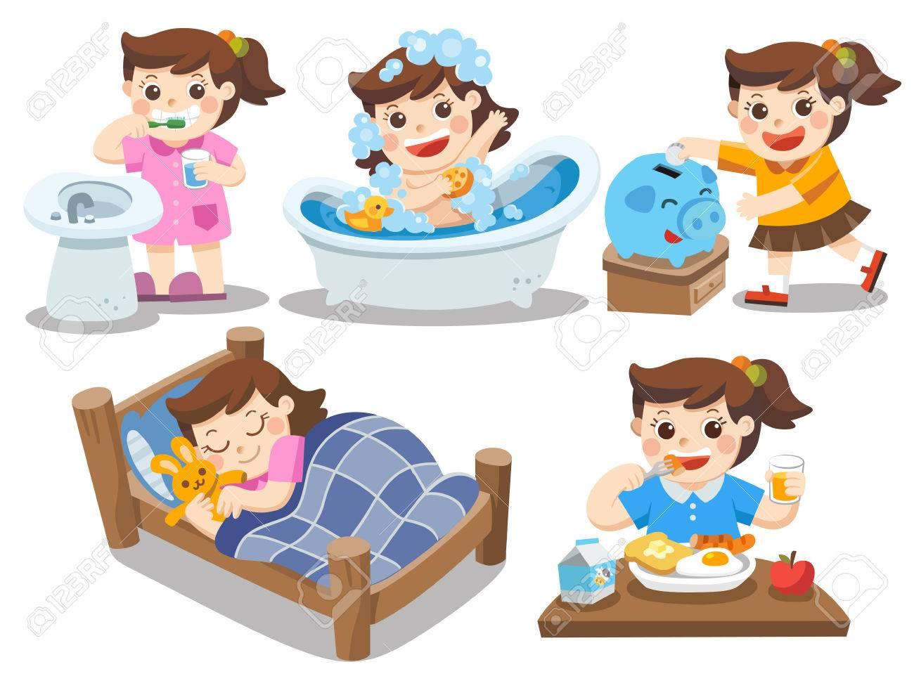 foto de archivo la rutina diaria de una linda chica sobre un fondo blanco dormir cepillarse los dientes tomar un bao comer ahorrar dinero
