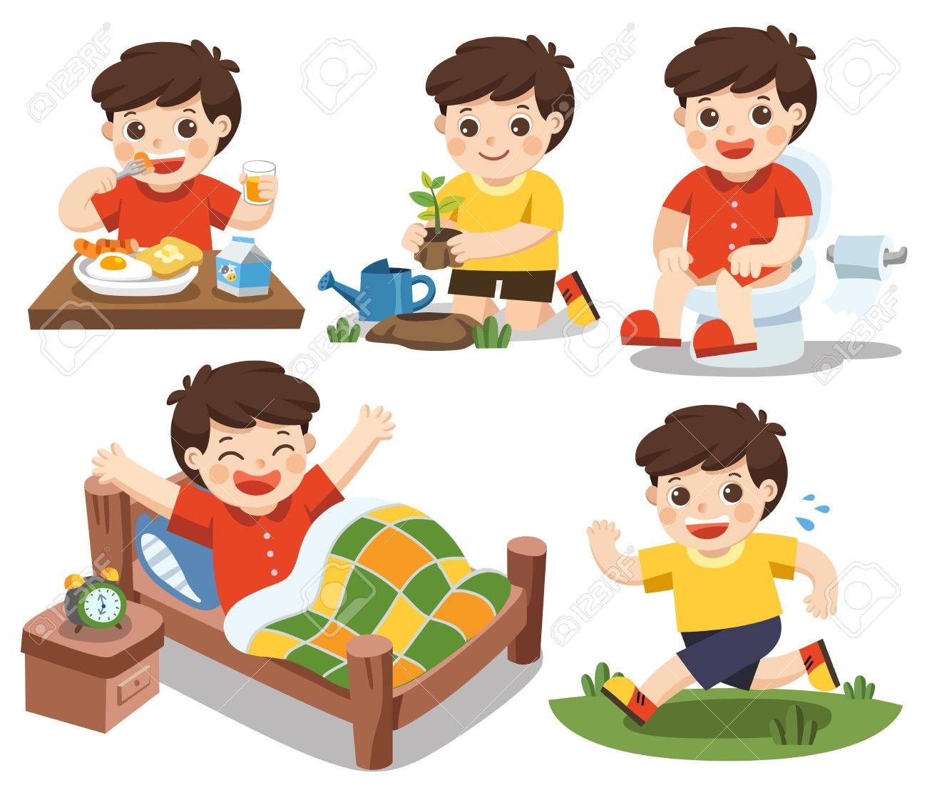 Isolated vector. The daily routine of a cute boy on a white background. [wake up, eat , sitting on the toilet, running, plant a tree] - 82606708