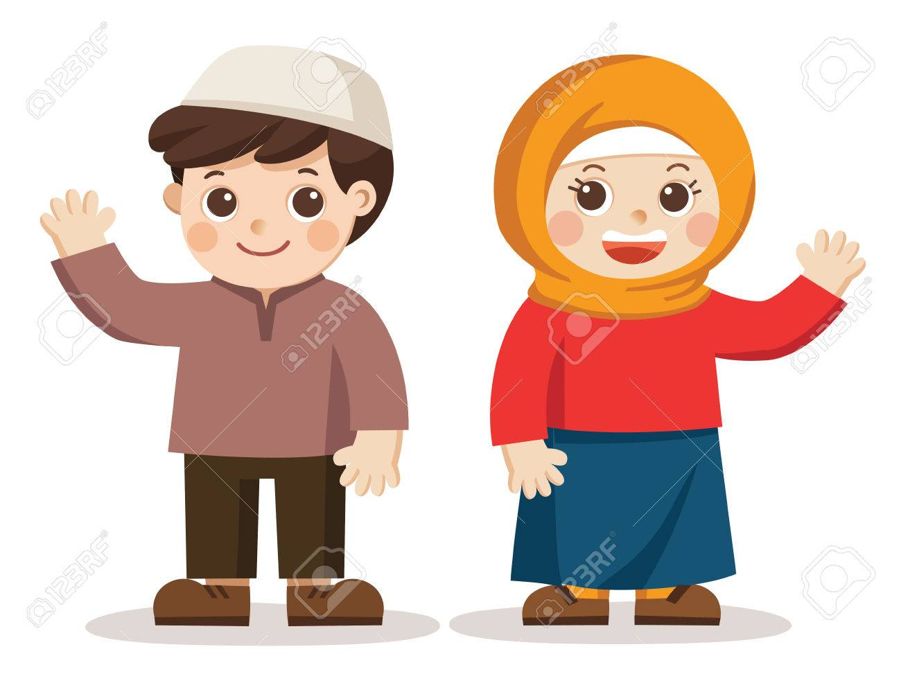 isolated vector muslim kids say hi they look happy royalty free