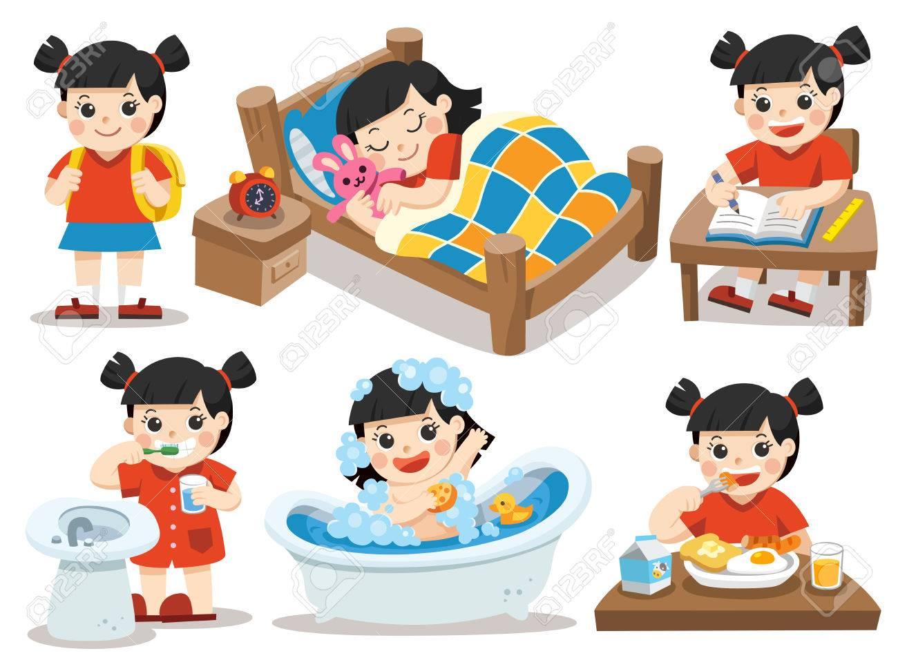 la rutina diaria de nia asitica sobre un fondo blanco dormir cepillar los dientes tomar un bao comer hacer la tarea