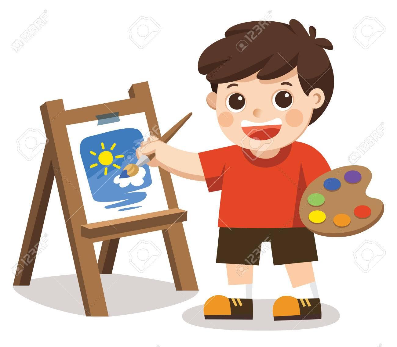 Garcon Mignon Artiste Peinture Fleur Sur Toile Vecteur Isole Clip Art Libres De Droits Vecteurs Et Illustration Image 84405851