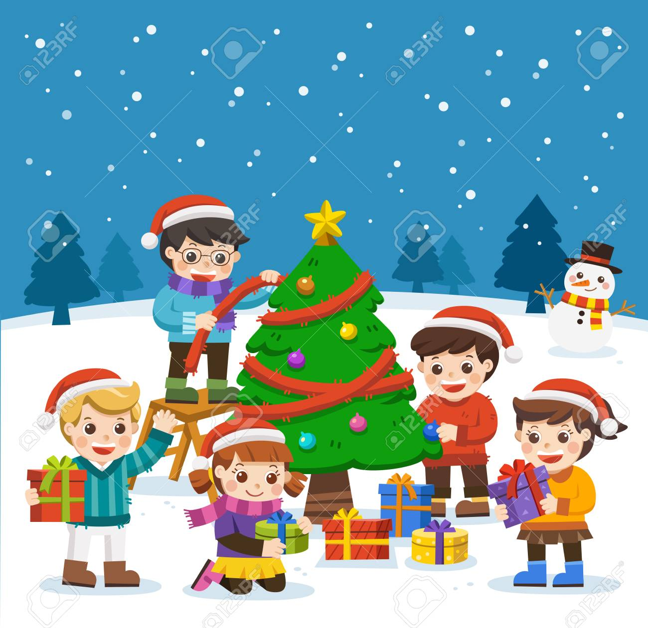 happy new year and merry christmas with adorable kids snowman and christmas tree kids