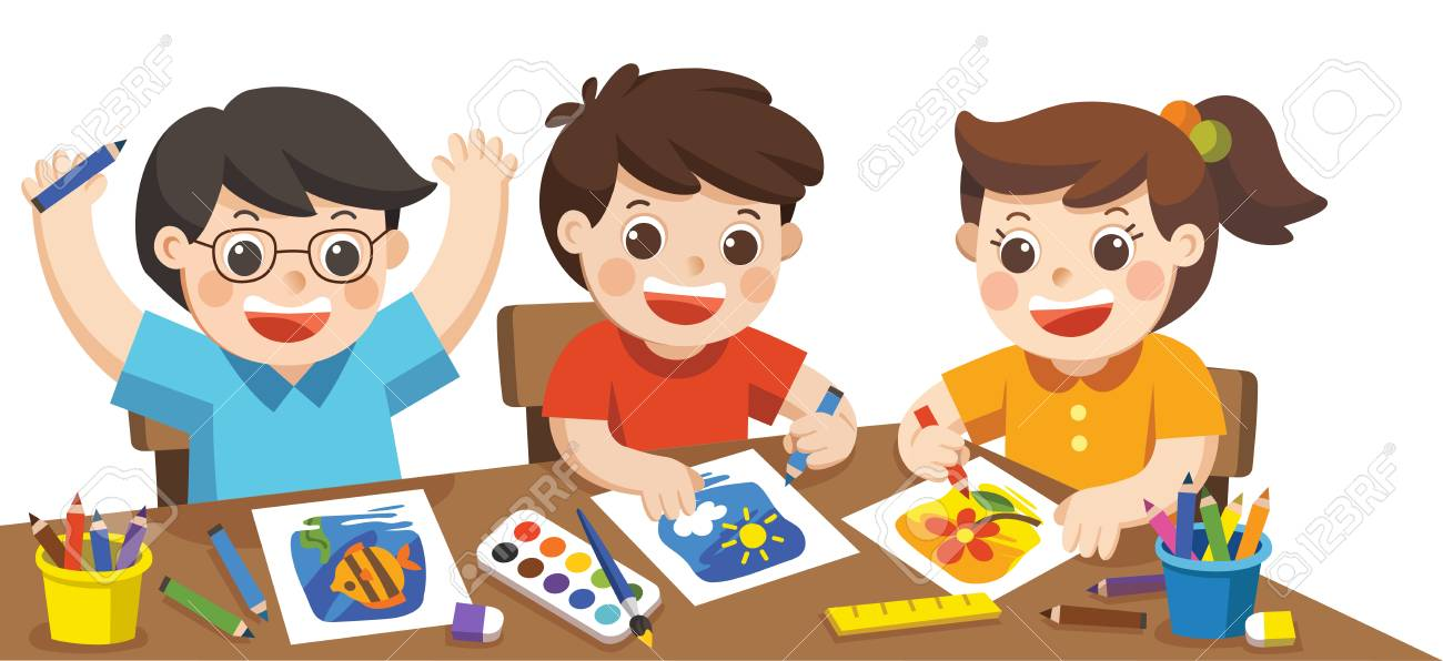 Back To School. Happy Creative Kids Playing, Painting,sketching ...