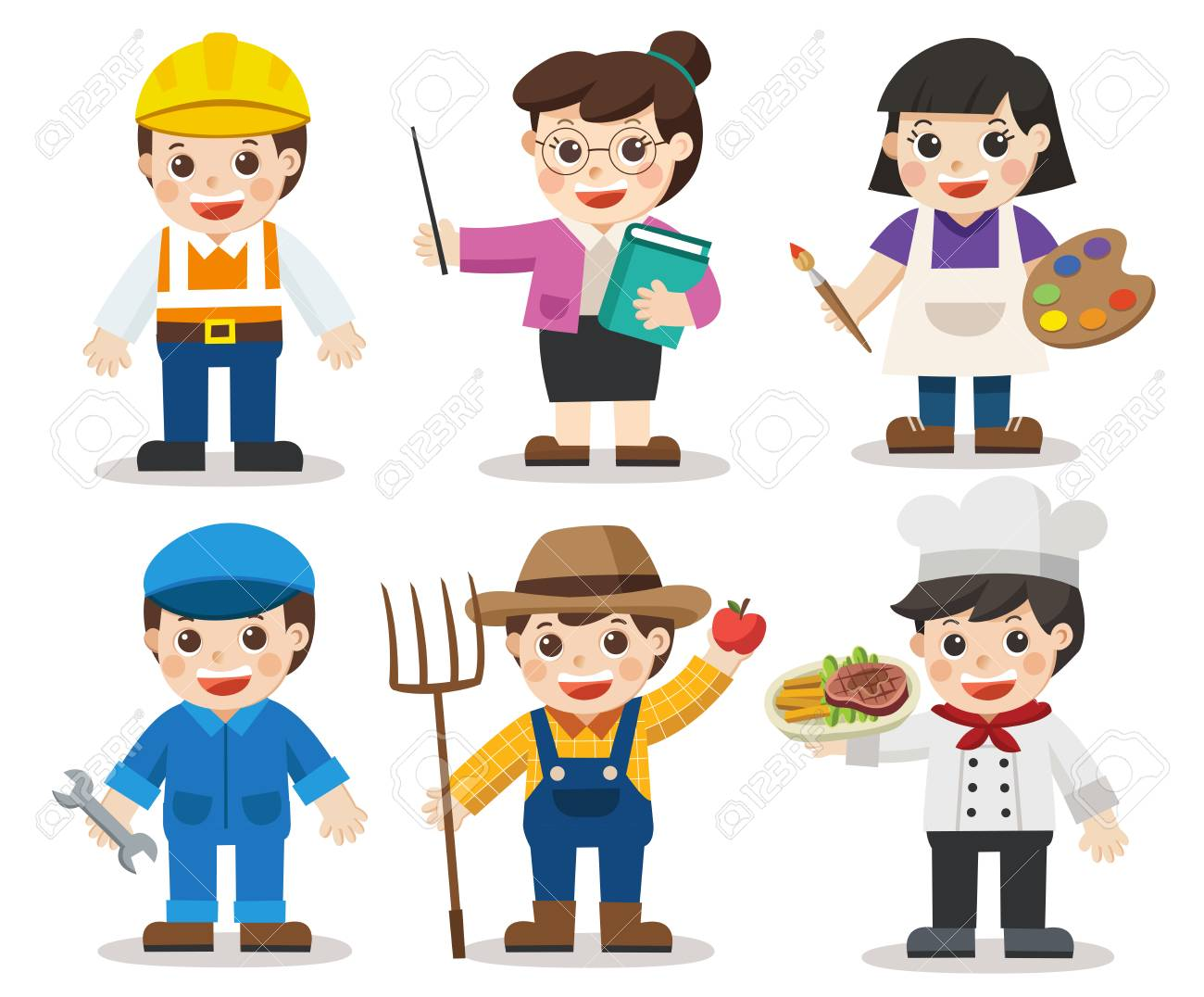 kid set of different professions artist teacher mechanic