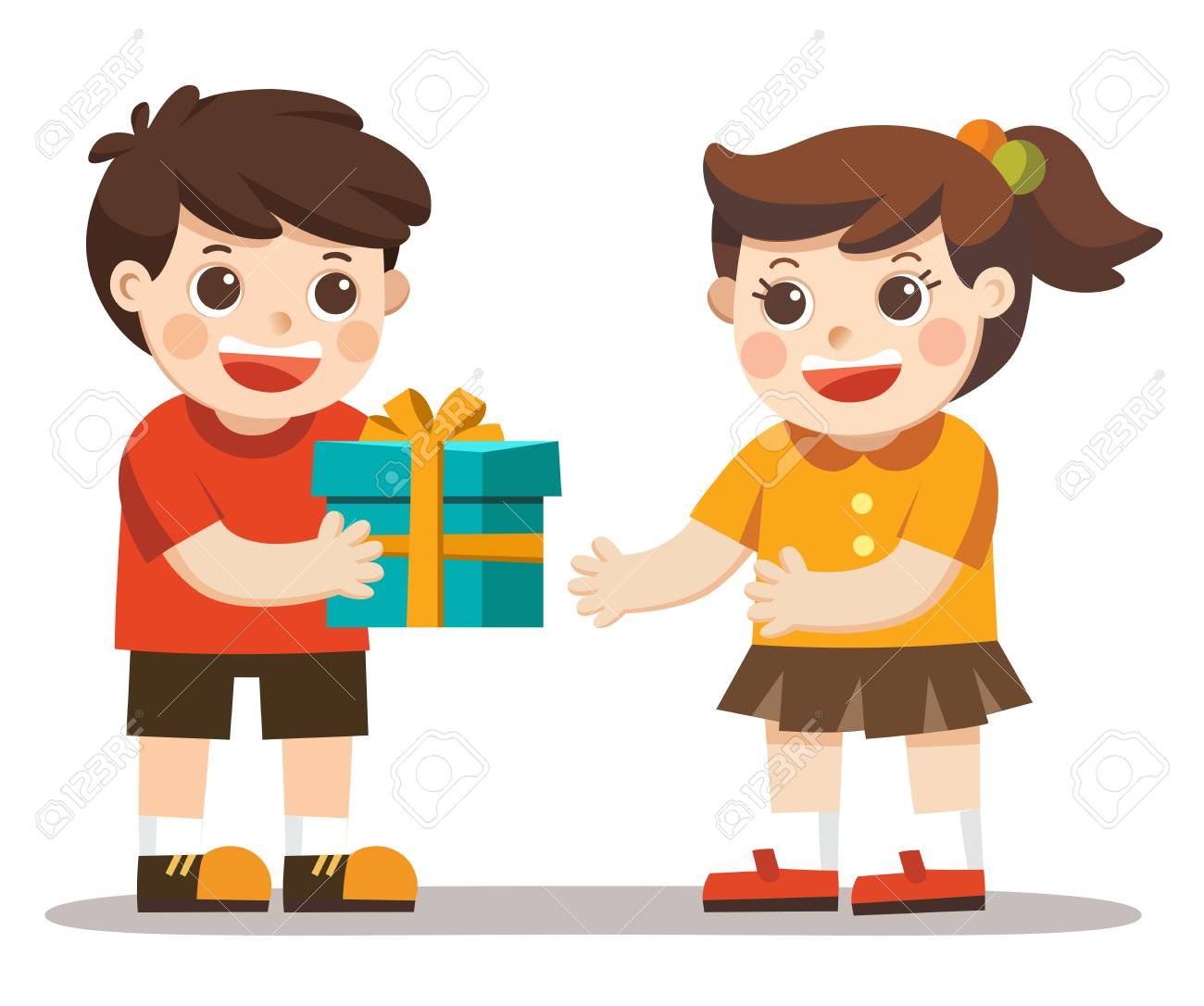 A Little Boy Giving Girl Birthday Gift Box Kid Hand Over Holiday Present Stock
