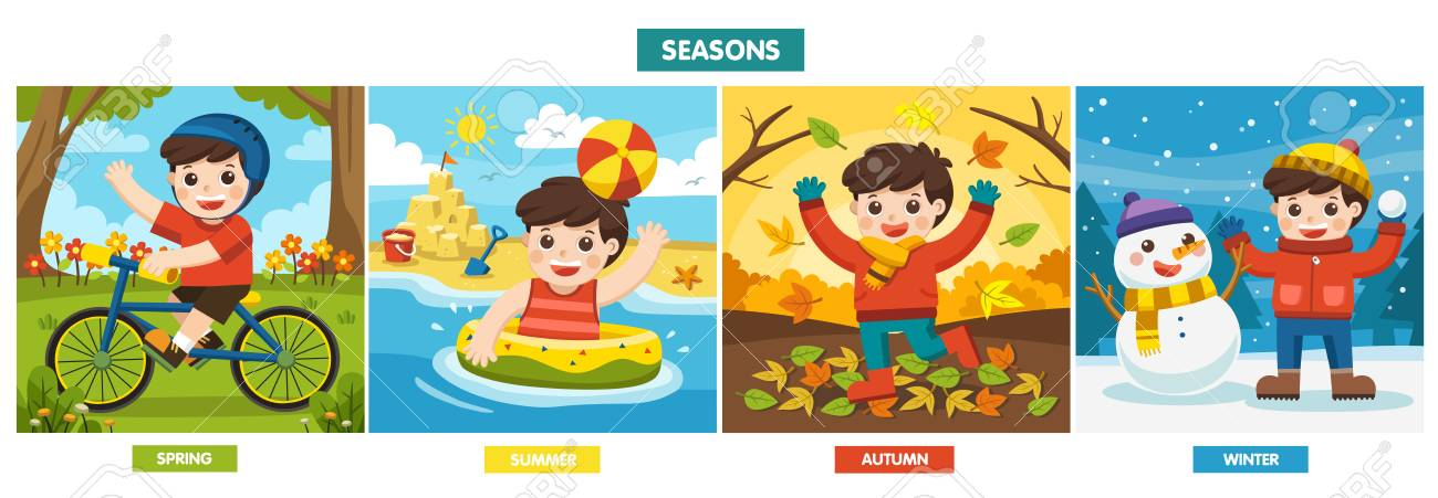 Illustration Of Four Seasons and weather. A Cute boy playing in different seasons. - 126462626