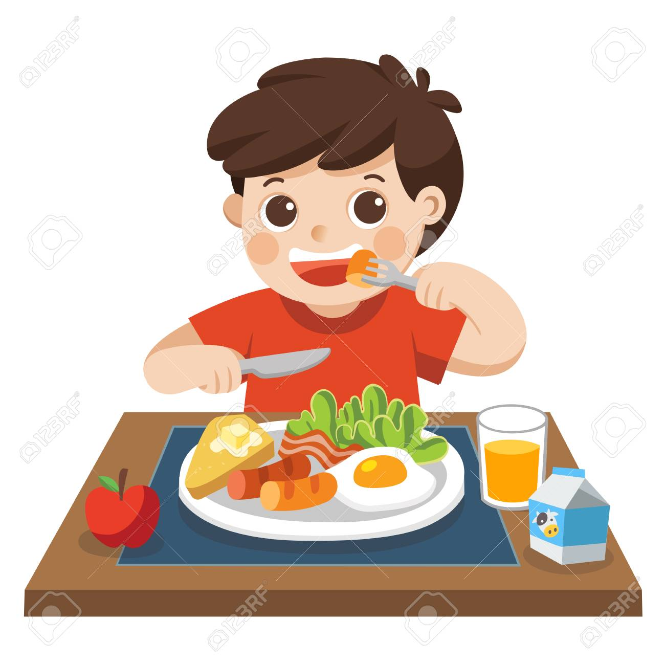 A little boy happy to eat breakfast in the morning. - 125673806