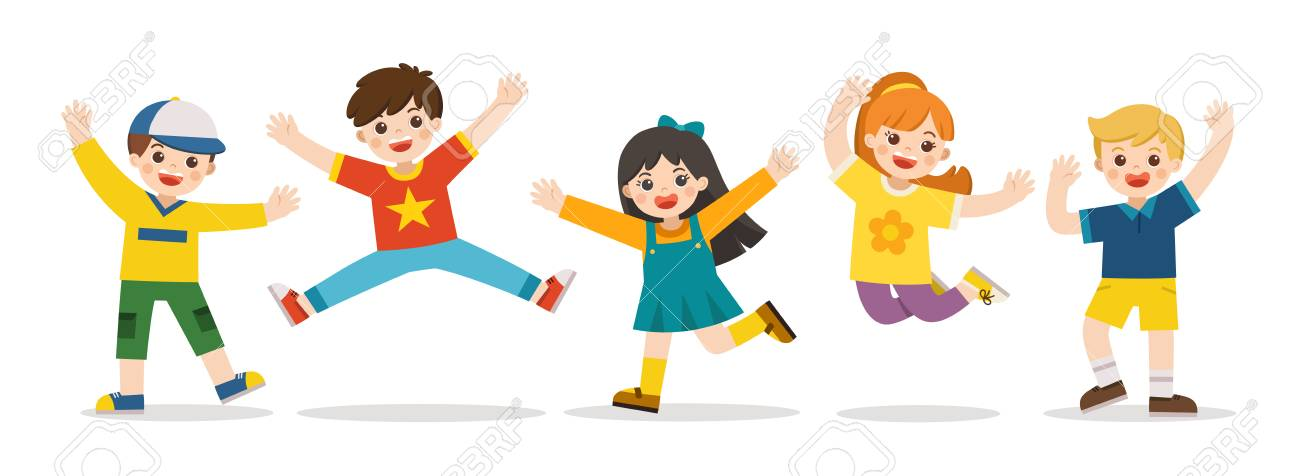 Children's activities. Happy kids jumping together on the background. Boys and girls are playing together happily. Vector illustration. - 124790442