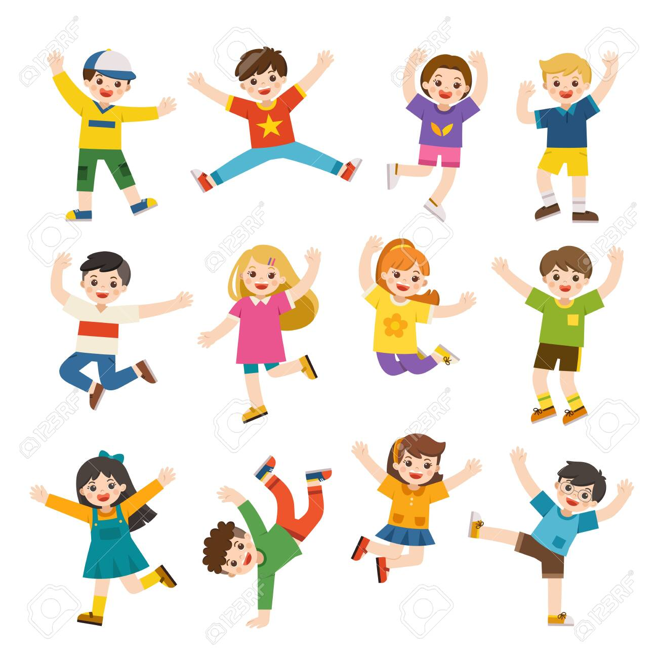 Children's activities. Happy kids jumping together on the background. Boys and girls are playing together happily. Vector illustration. - 123971609