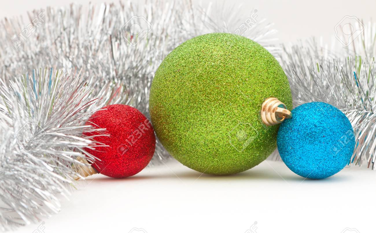 Christmas decorations: colored balls and the garland Stock Photo - 16138773