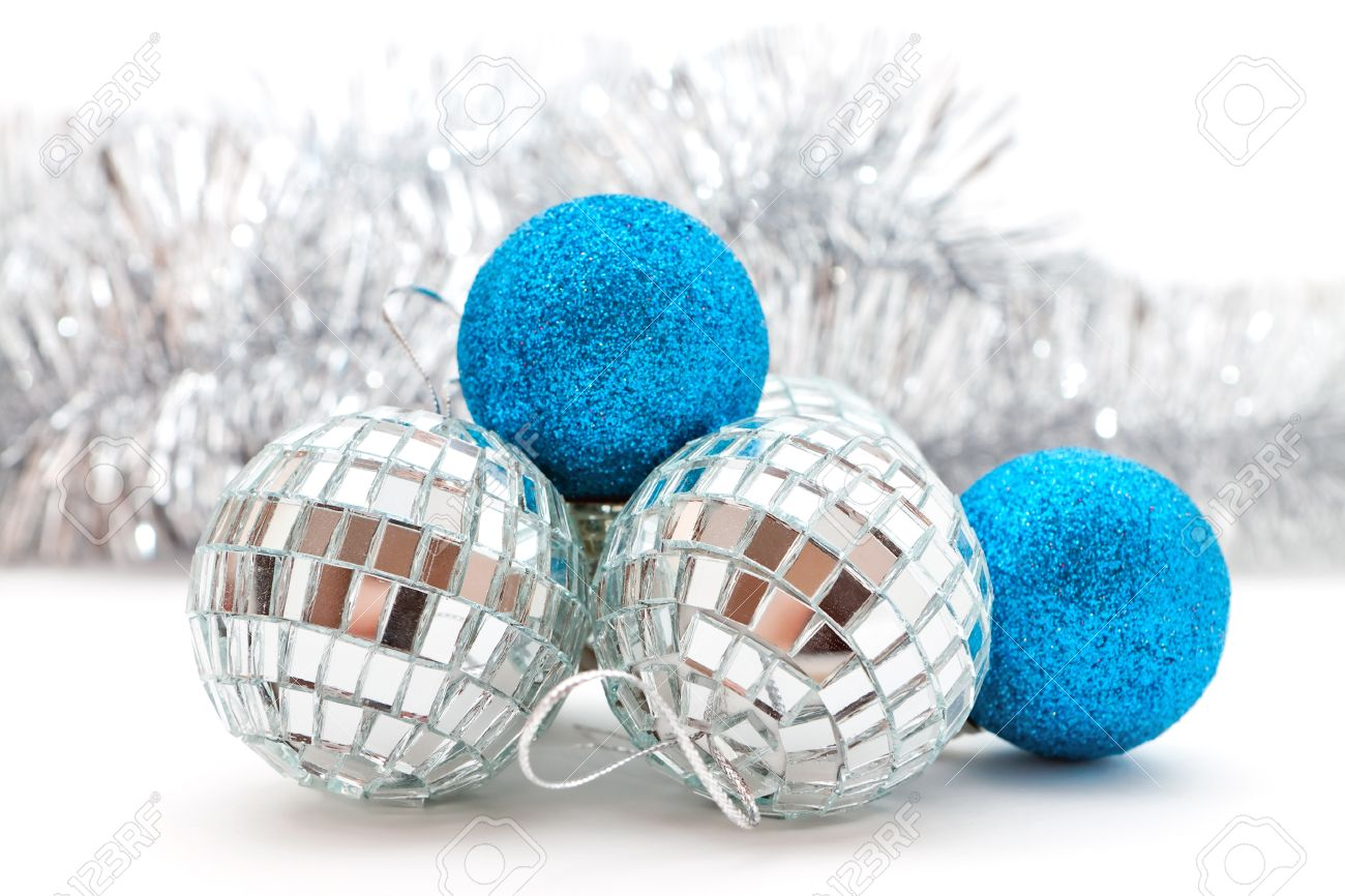 Silver And Blue Christmas Decorations Balls And Garland Stock Photo
