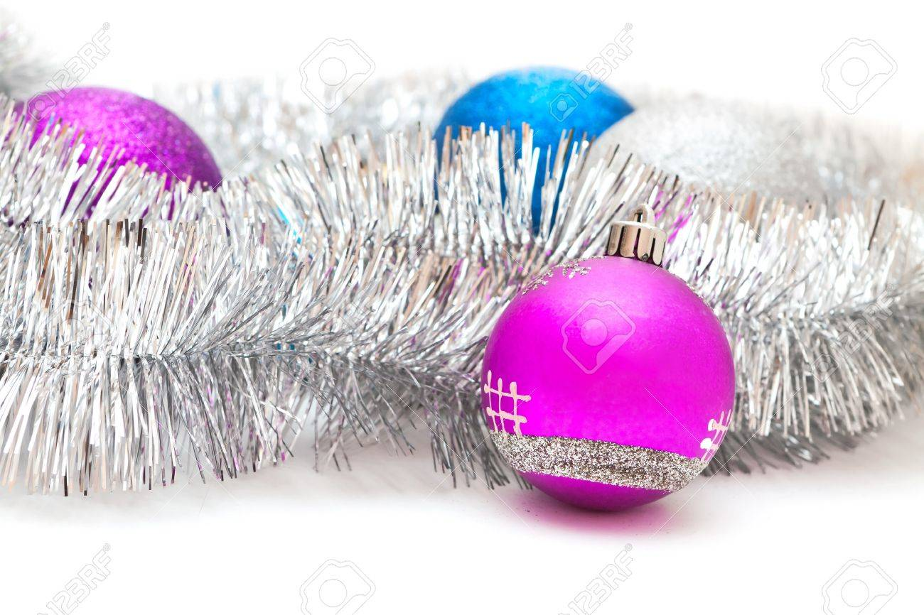 Purple And Blue Christmas Decorations And Silver Garland