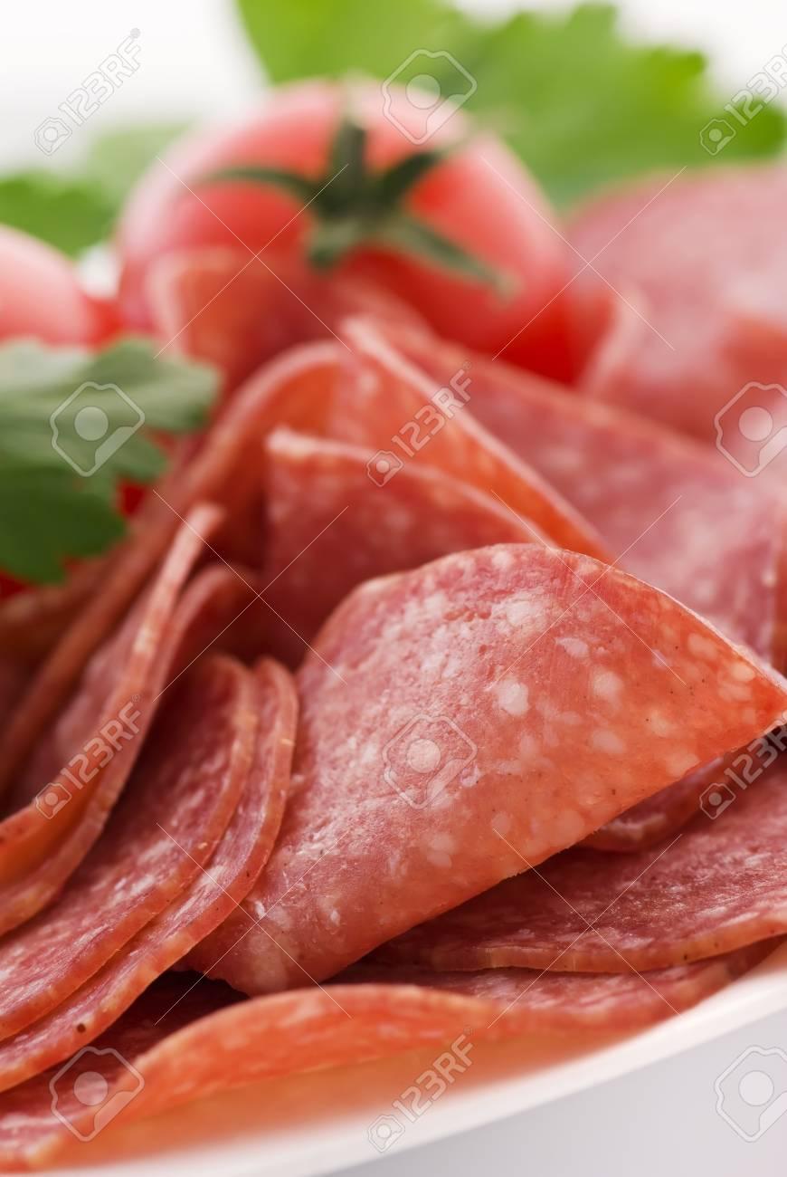 Salami with Tomato Stock Photo - 7650570
