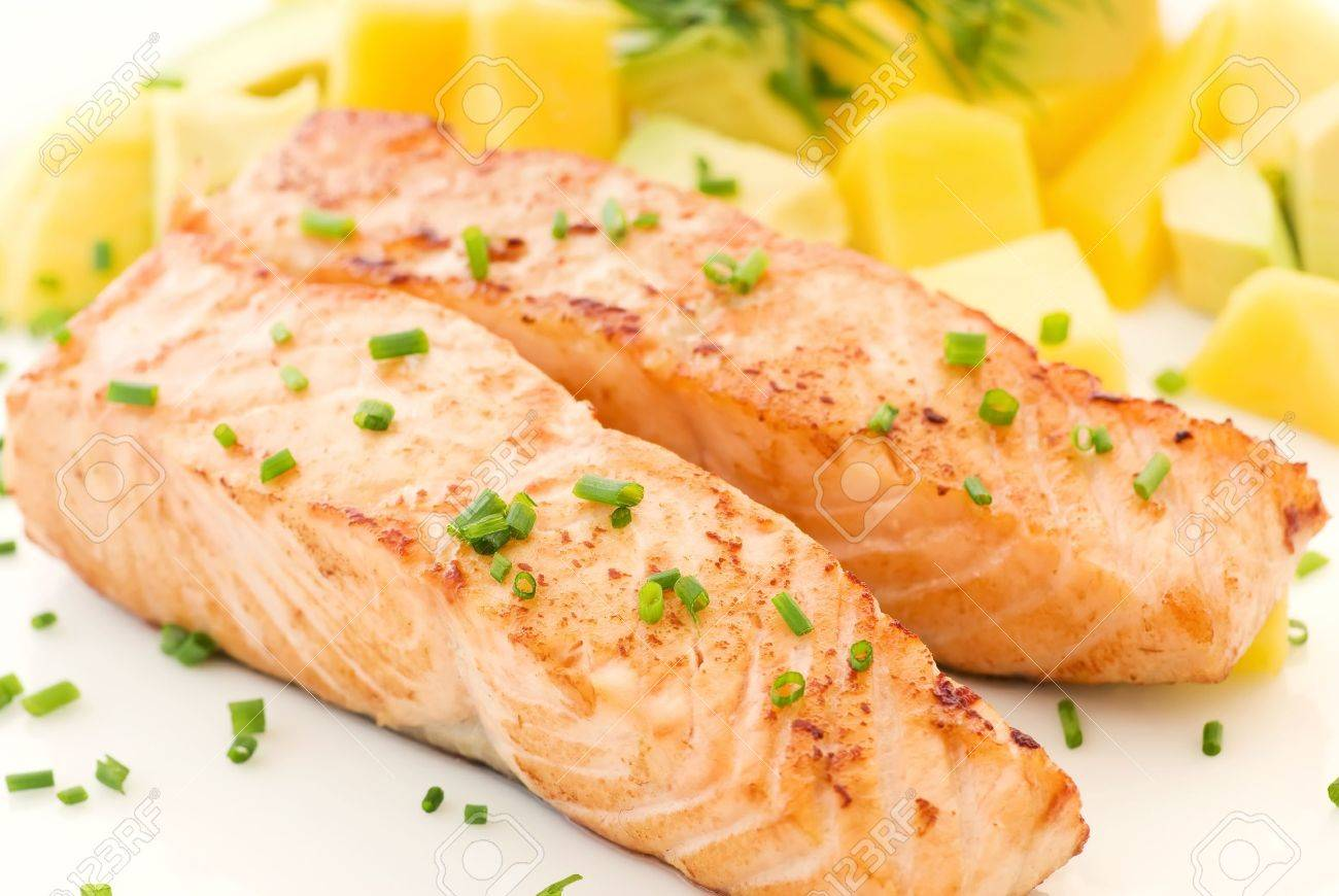 Salmon with Fruits Stock Photo - 9034889