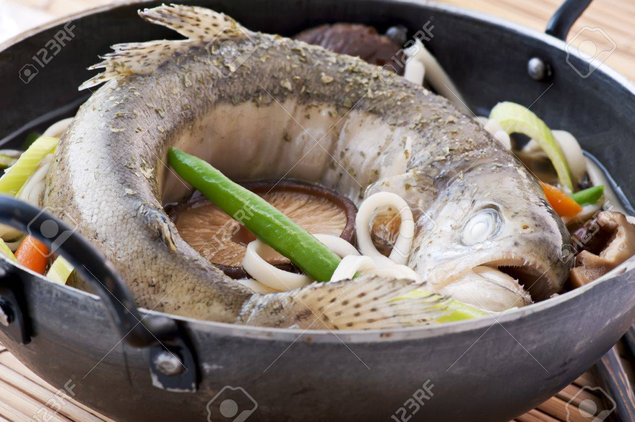 Fish Soup with Trout in a Pan Stock Photo - 9539872