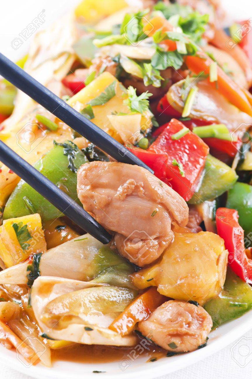 Chicken Sweet sour with vegetable Stock Photo - 10375978