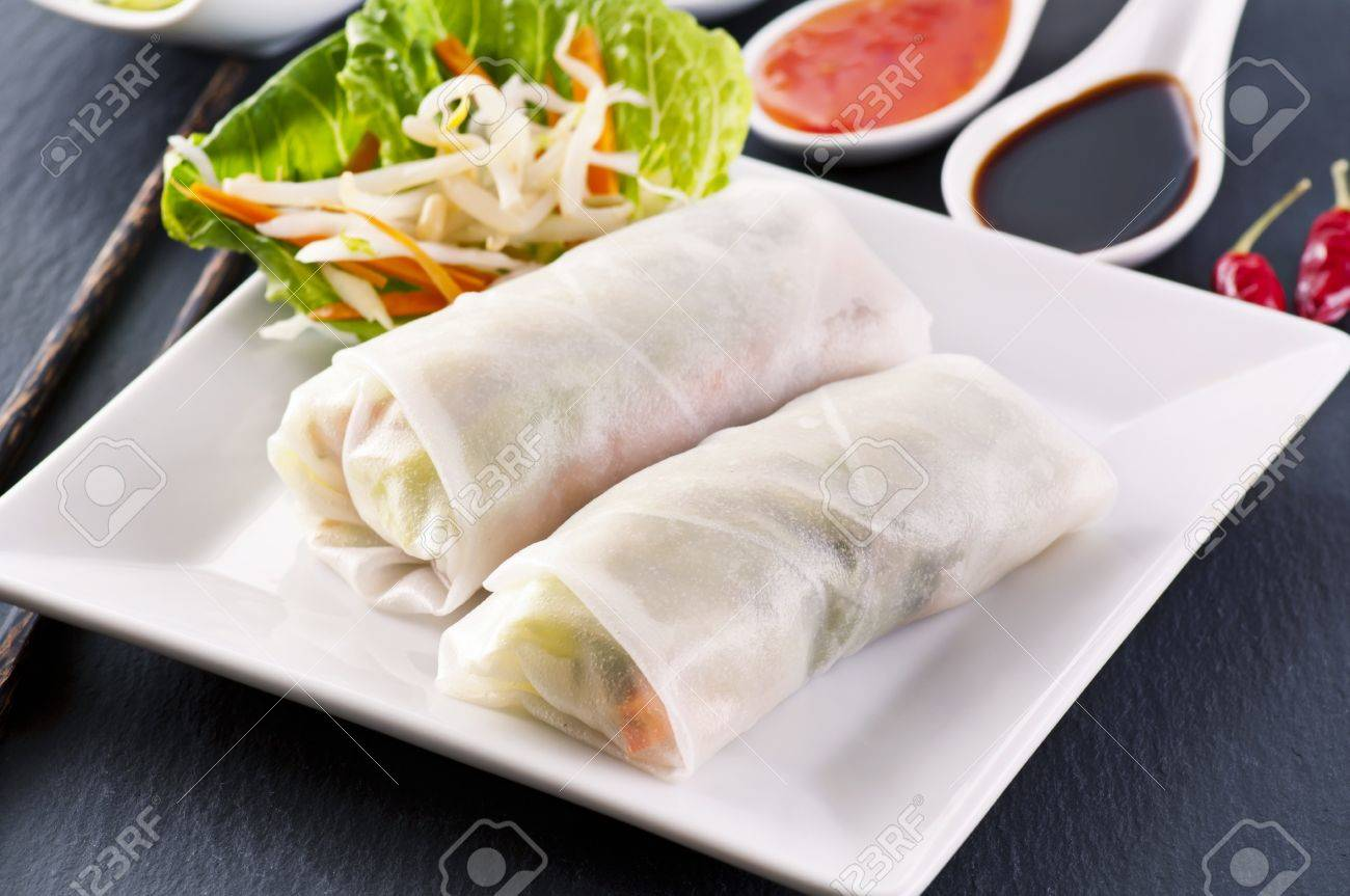 spring rolls on a white plate Stock Photo - 11304564