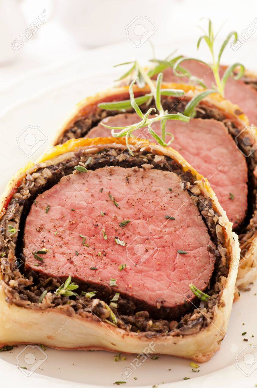 Fillet Wellington with fresh herbs Stock Photo - 13641928