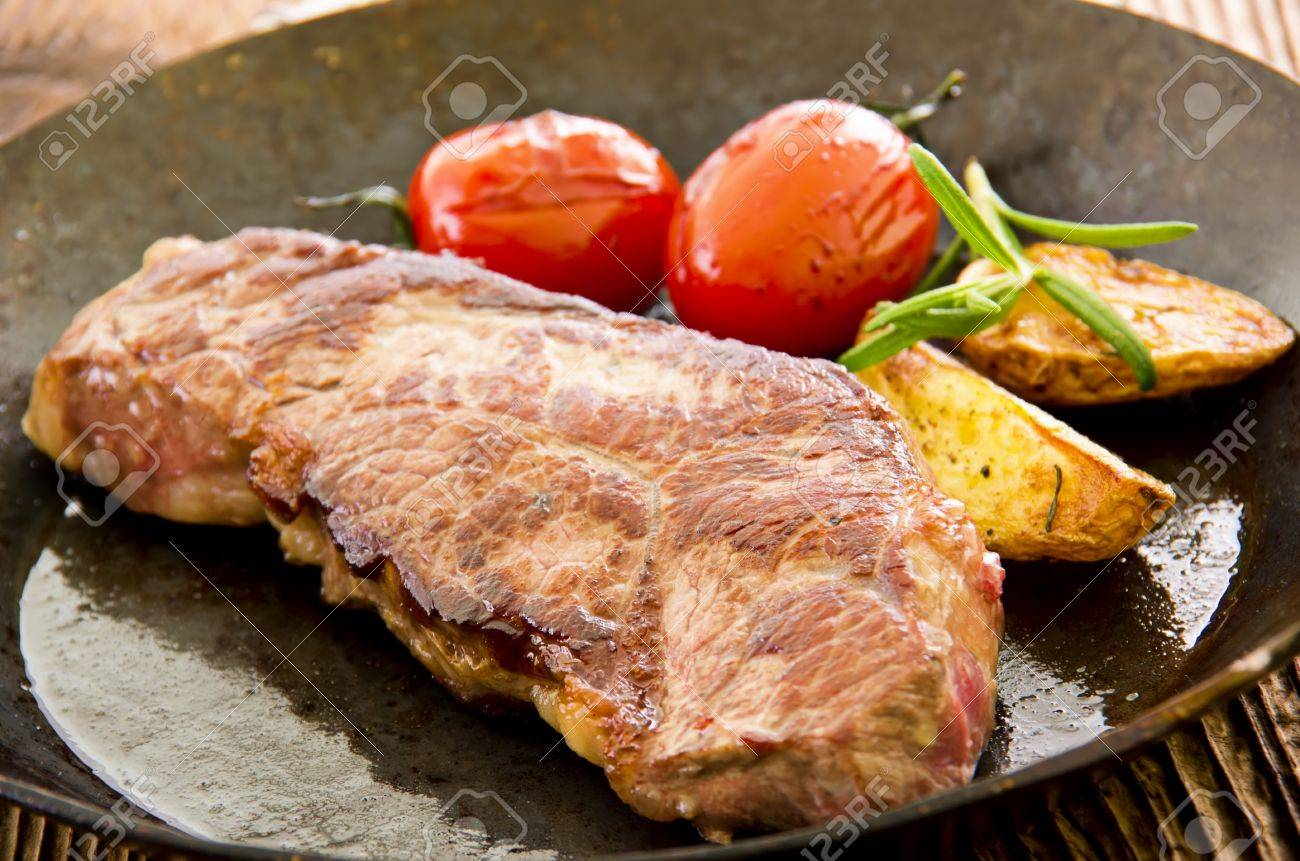Beef Steak With Vegetables In The Fry Pan Stock Photo 15310480