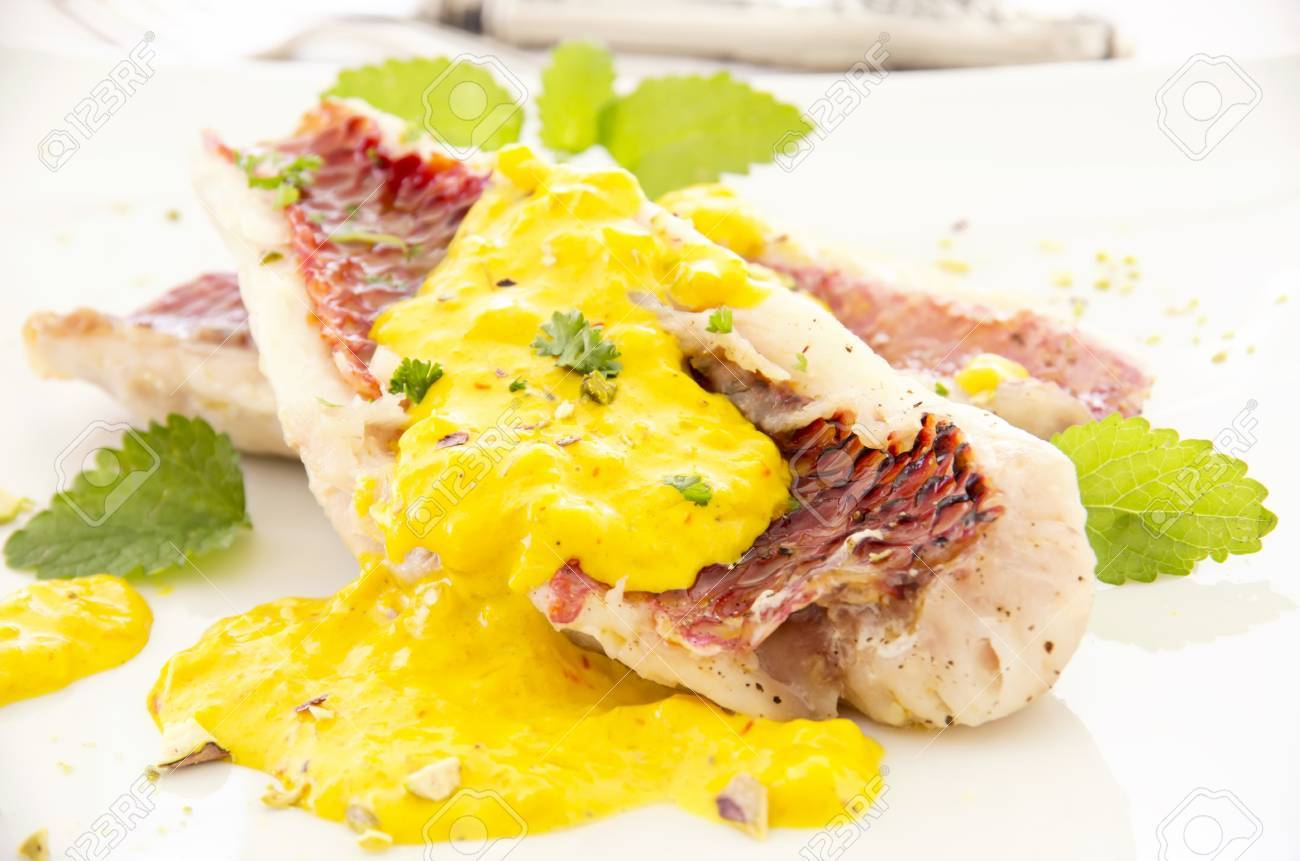 red mullet with saffron sauce Stock Photo - 16268955