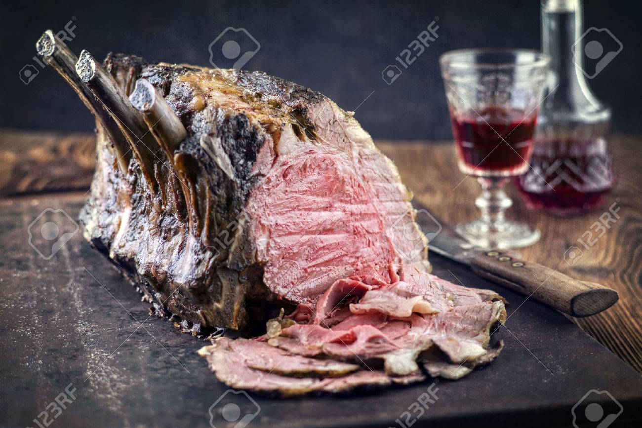 Rib of Beef Cold cut on old metal sheet - 66665040