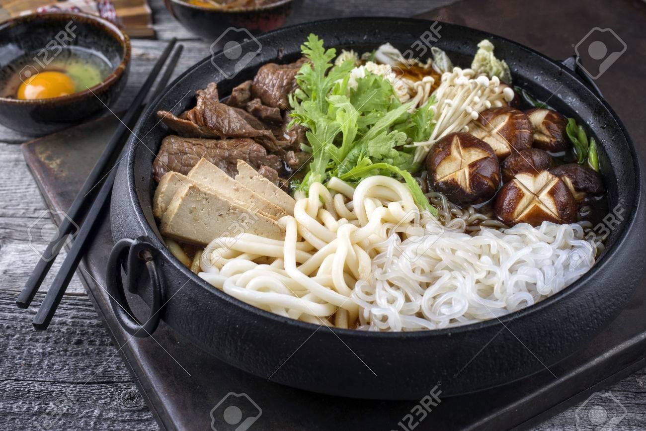 Sukiyaki in traditional Japanese Cast Iron Pot - 71370439