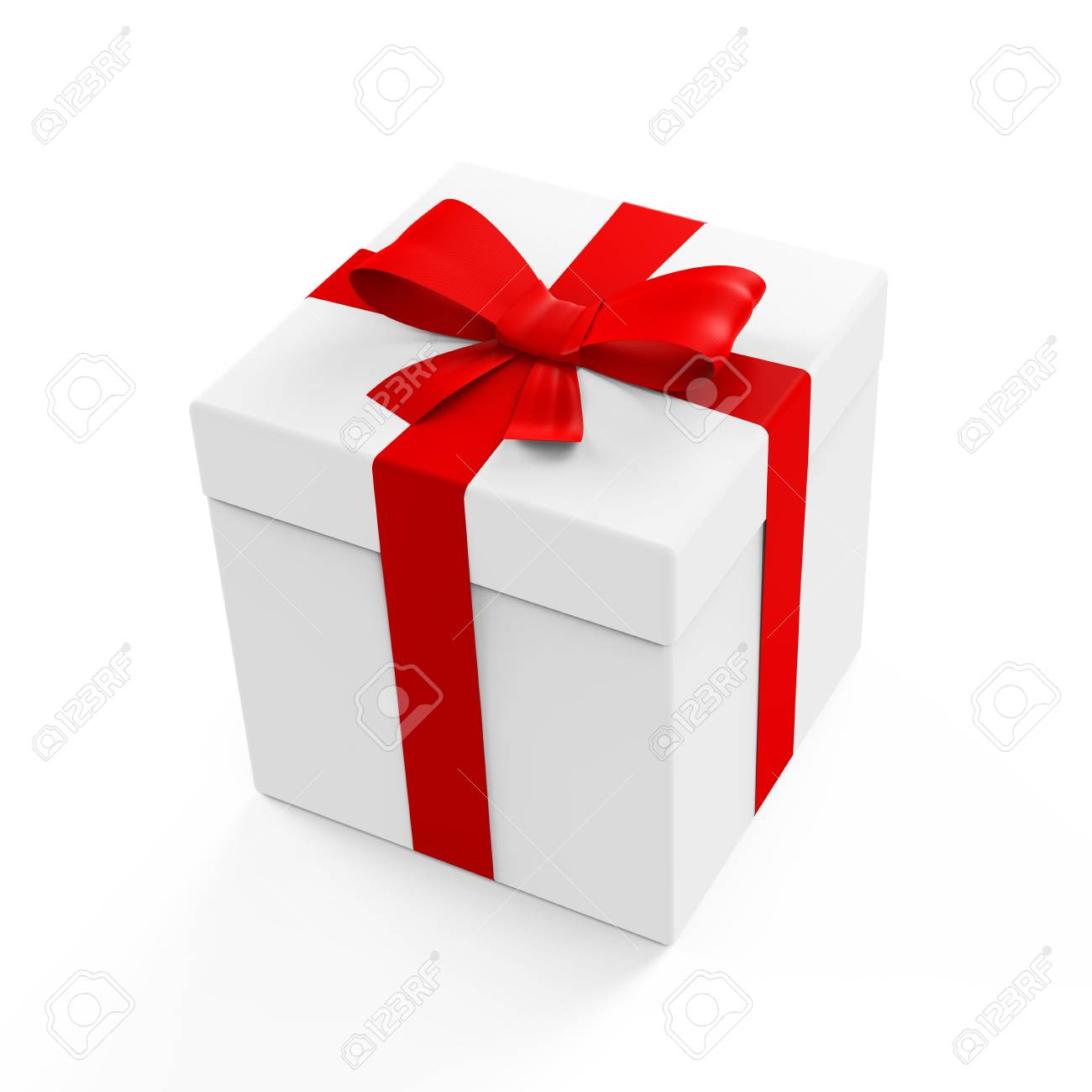 Gift box in white color with red ribbon and bow on a white gift box in white color with red ribbon and bow on a white background 3d negle Gallery