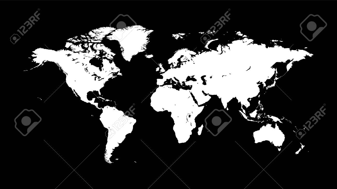 Silhouette of a white world map on a dark black background with..