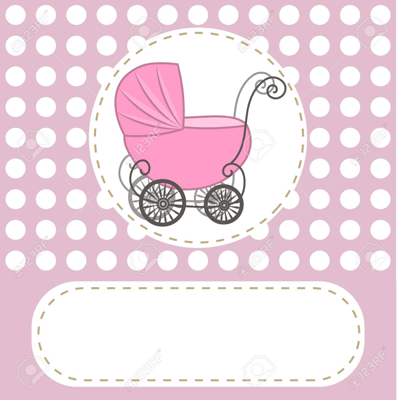 baby shower girl announcement baby carriage invitation abstract