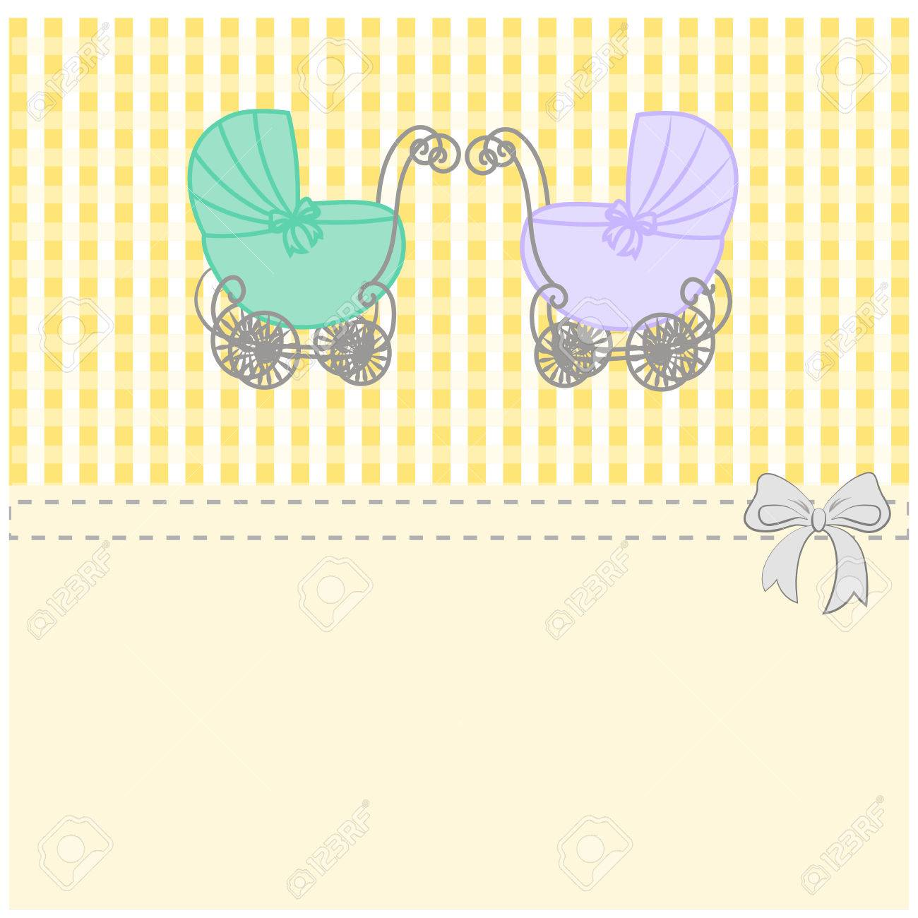 Baby Shower Announcement Twins Vintage Baby Stroller Invitation Or Card Birthday Vector Background Illustration