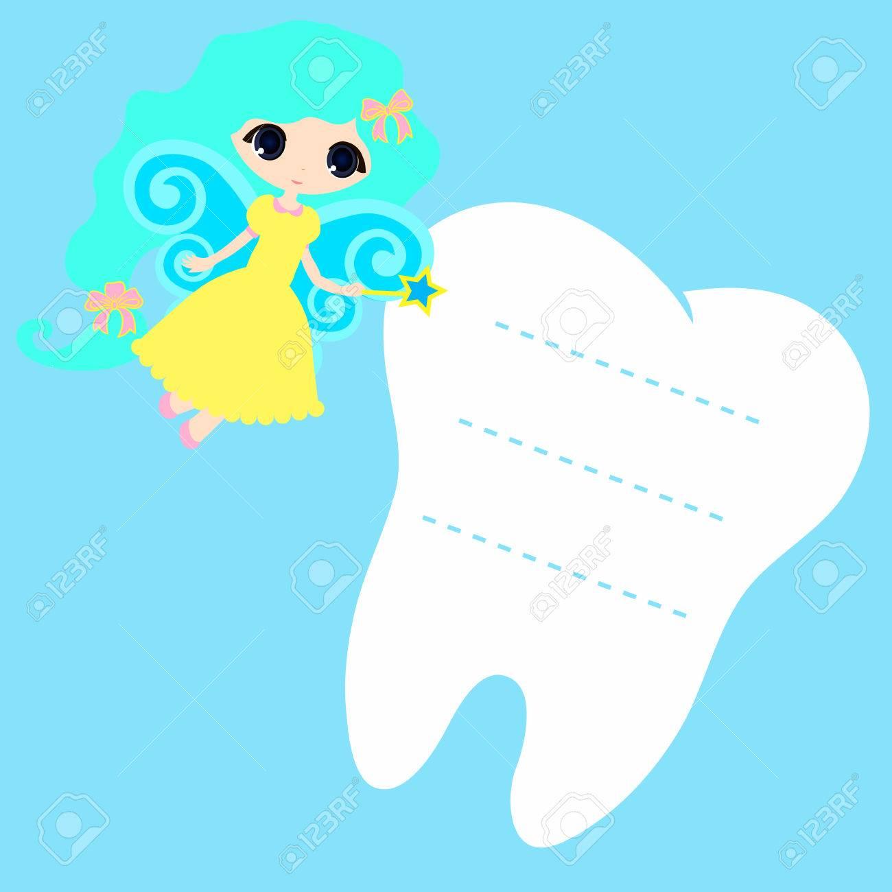 cute cartoon fairy smiling princess card little happy tooth