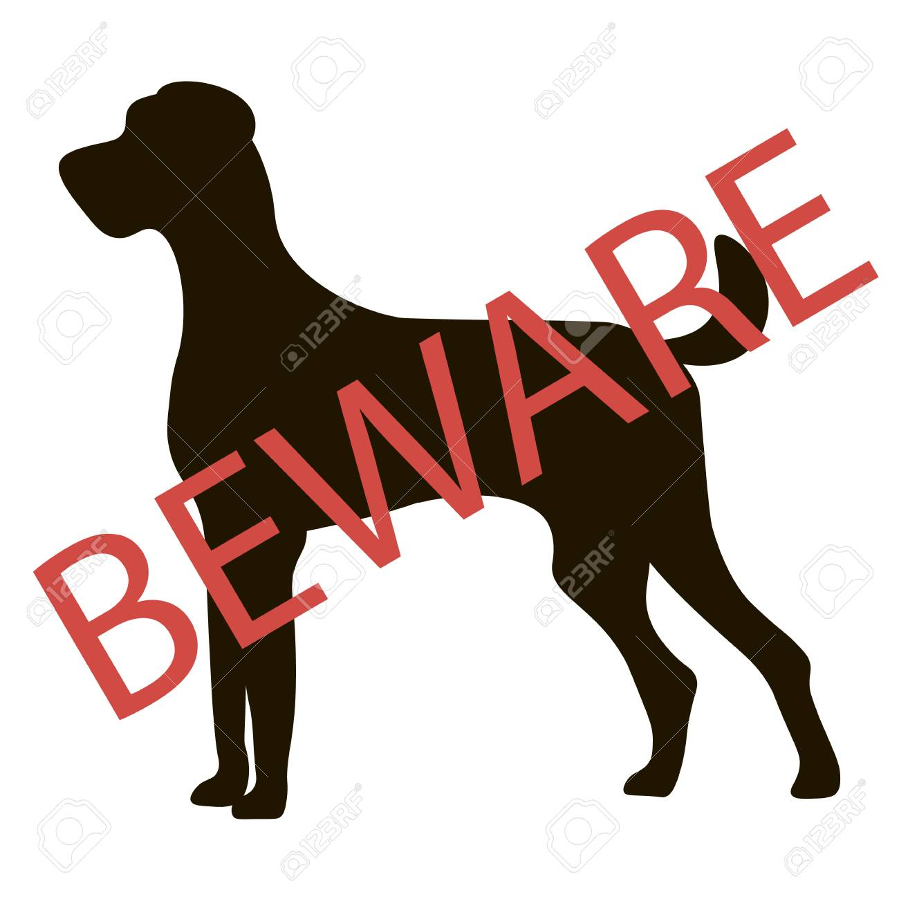 Beware Dogs Signs Vector Illustration Royalty Free Cliparts