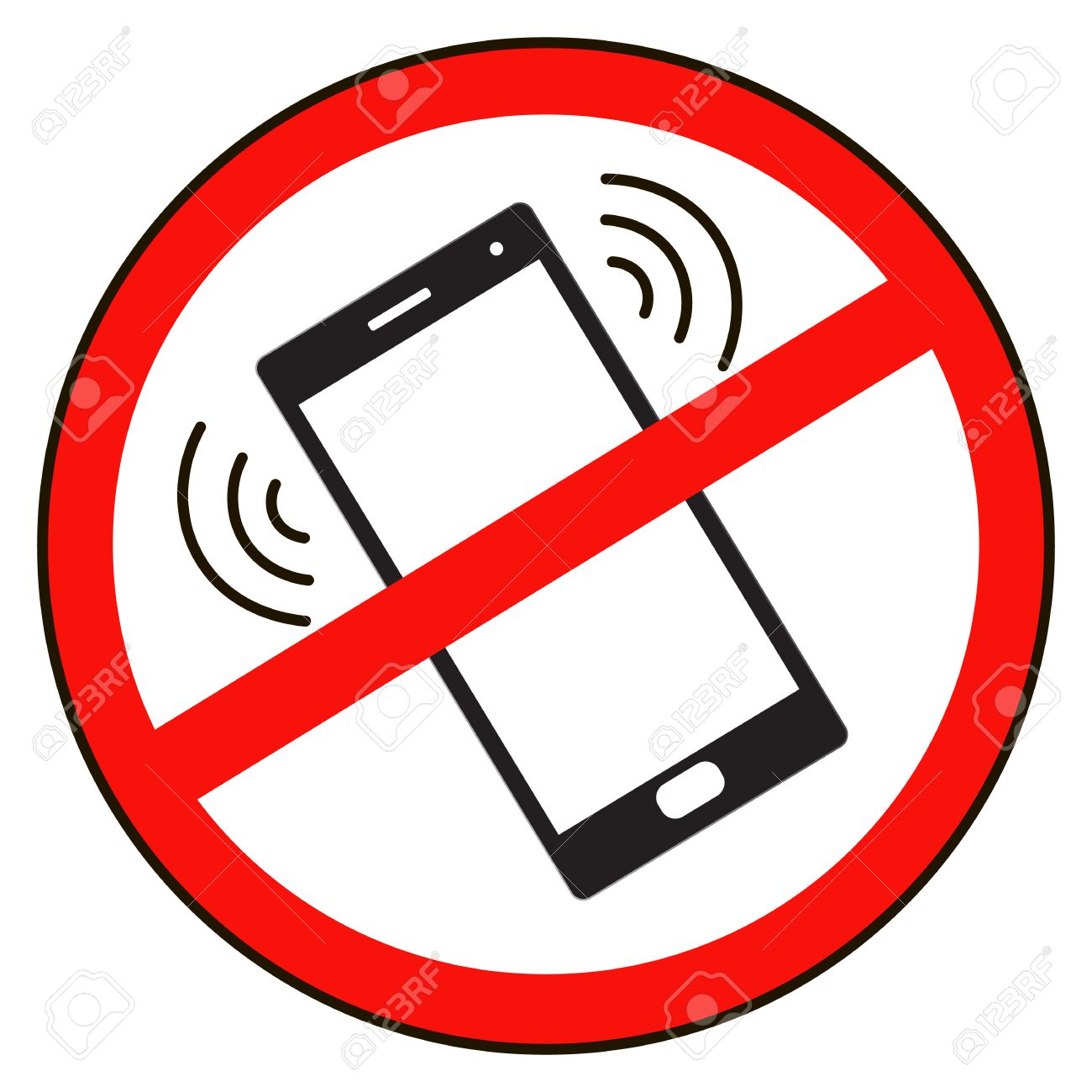 Mobile Phone Prohibited No Cell Phone Sign Isolated White