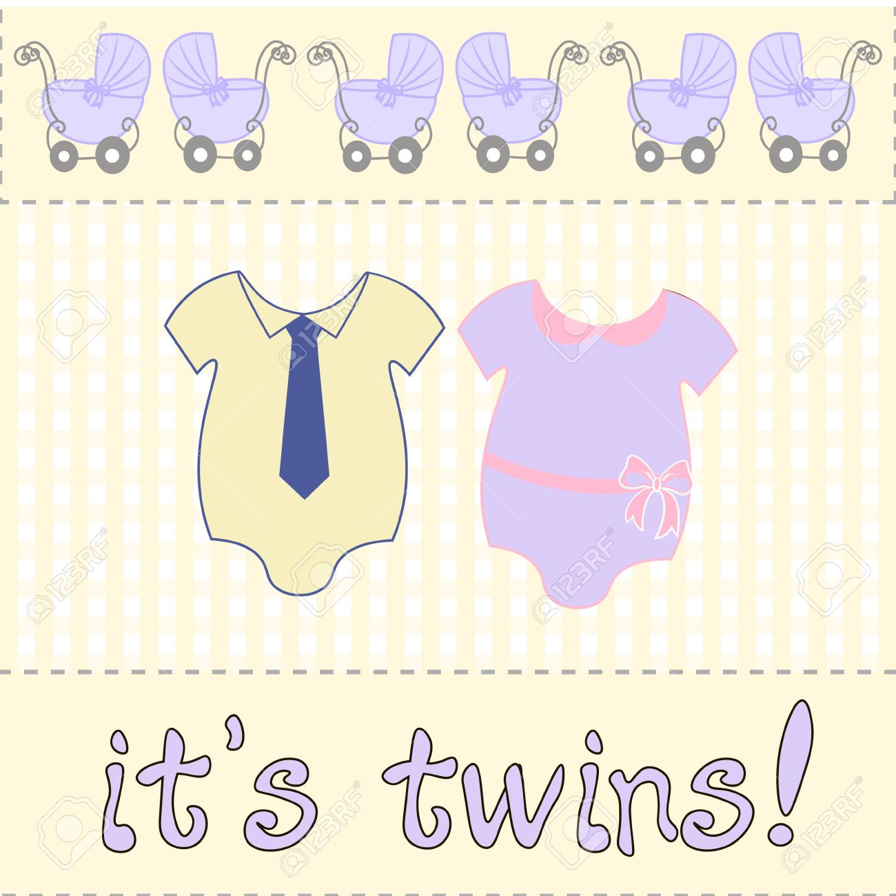 For Baby Shower Or Birthday Invitation Card Two Bodysuits Newborn