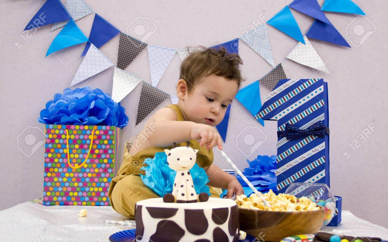 Infant Boys First Birthday Cake Smash Adorable Smashing Stock Photo