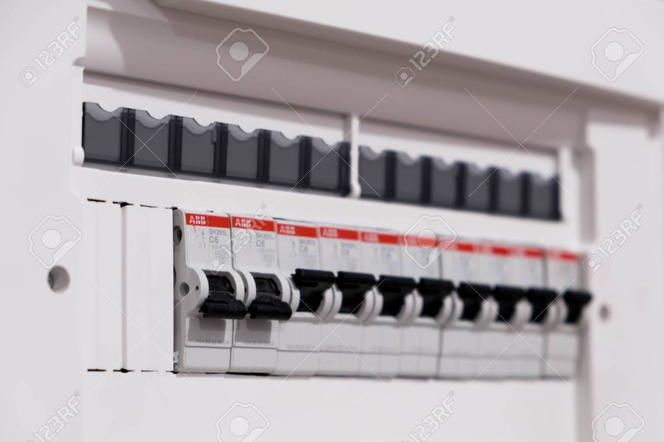 Closeup Of A Home Automatic Fuse Switches. New Control Panel.. Stock ...