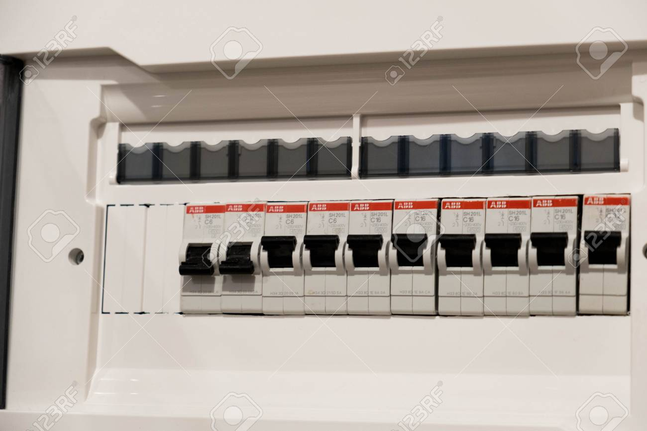 Closeup Of A Home Automatic Fuse Switches. New Control Panel ...