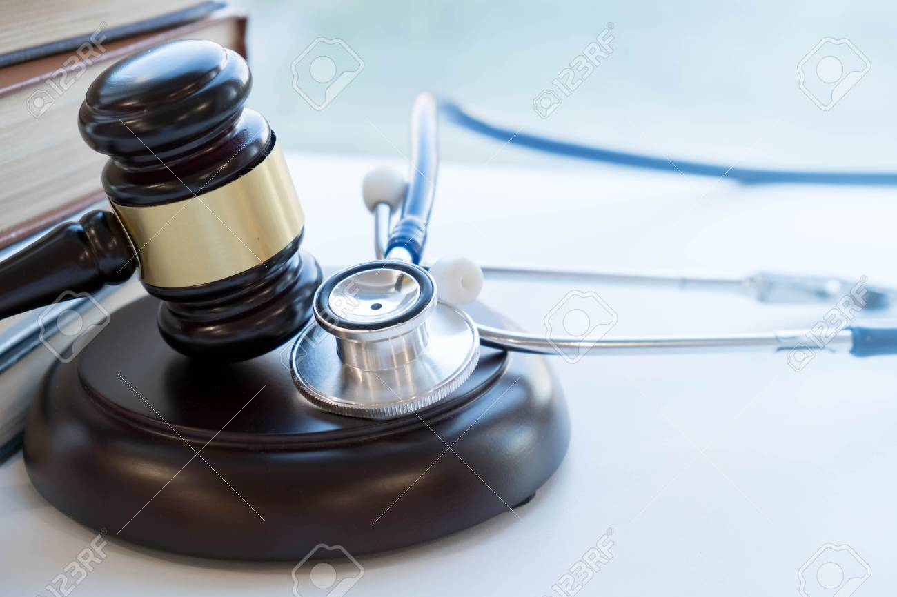 Gavel and stethoscope. medical jurisprudence. legal definition of medical malpractice. attorney. common errors doctors, nurses and hospitals make - 91989061