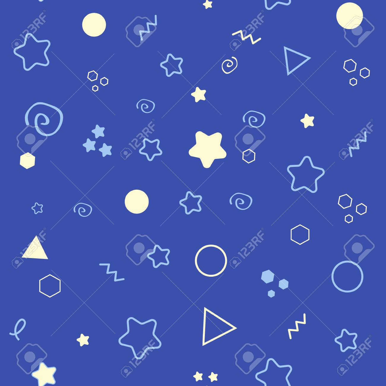 Good Night Seamless Pattern With Cute Sleeping Moon Stars And Clouds Sweet Dreams Background