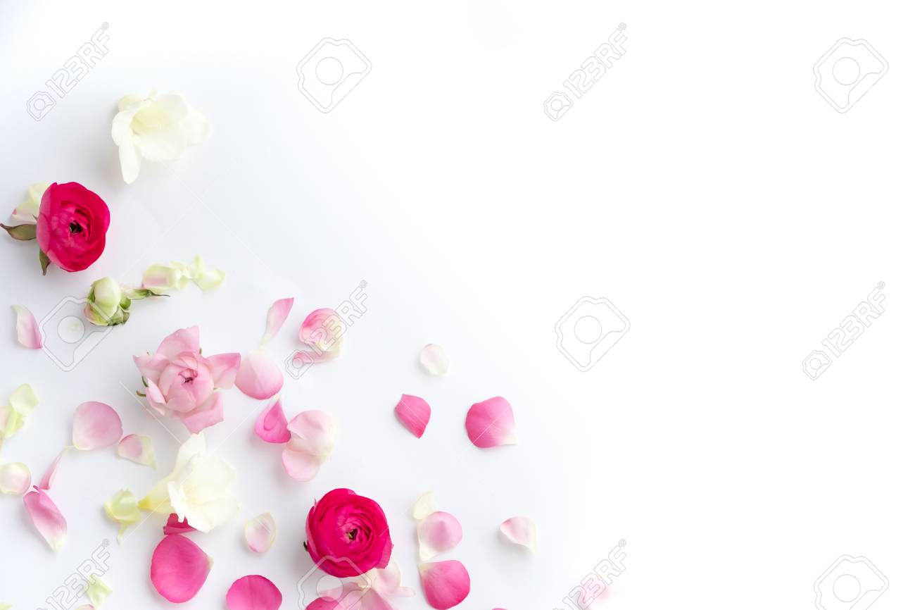 Spring Flowers Pink Flowers On White Wooden Background Flat
