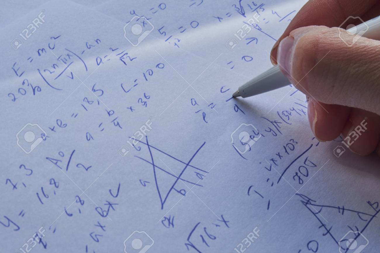 Sheet Of Paper Filled With Calculations As A Background. Math ...